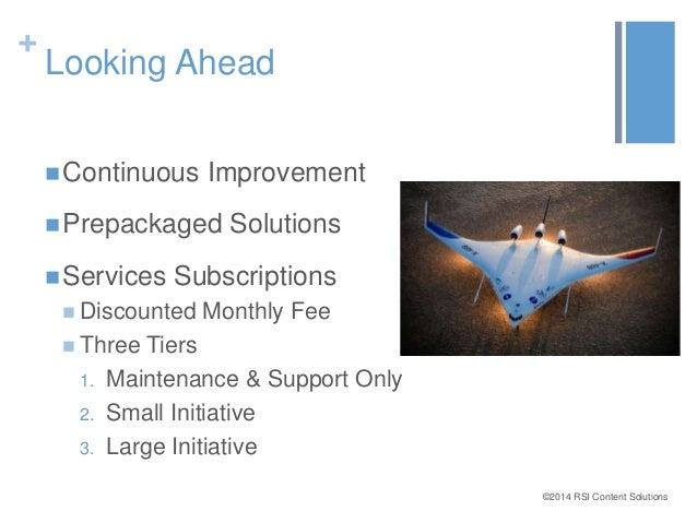 ©2014 RSI Content Solutions  +  Looking Ahead  Continuous Improvement  Prepackaged Solutions  Services Subscriptions  ...