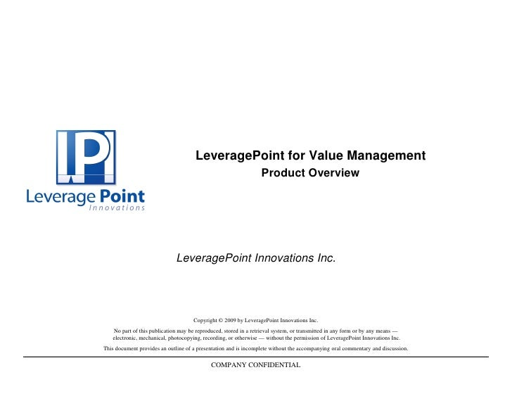 LeveragePoint for Value Management                                                                  Product Overview      ...