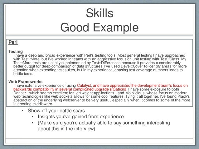 Skills  Good Example  Perl  Testing  I have a deep and broad experience with Perl's testing tools. Most general testing I ...
