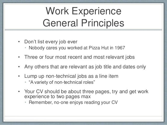 how to list job experience on a resumes