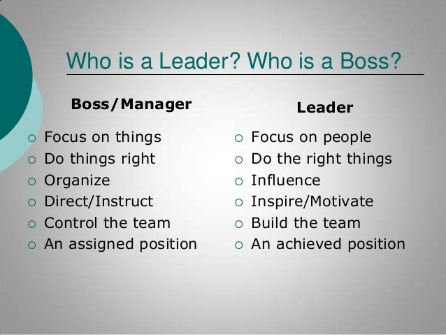 Who is a Leader? Who is a Boss? Boss/Manager        Focus on things Do things right Organize Direct/Instruct Control...