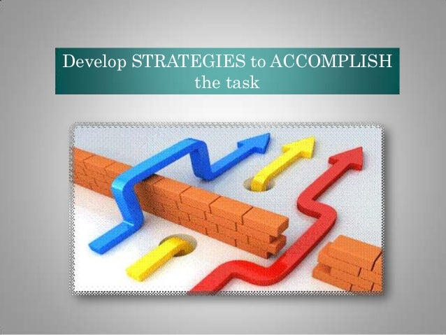 Develop STRATEGIES to ACCOMPLISH the task