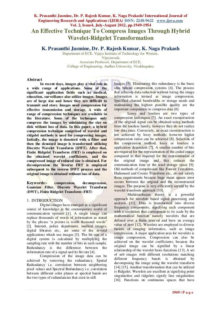 K. Prasanthi Jasmine, Dr. P. Rajesh Kumar, K. Naga Prakash/ International Journal of      Engineering Research and Applica...