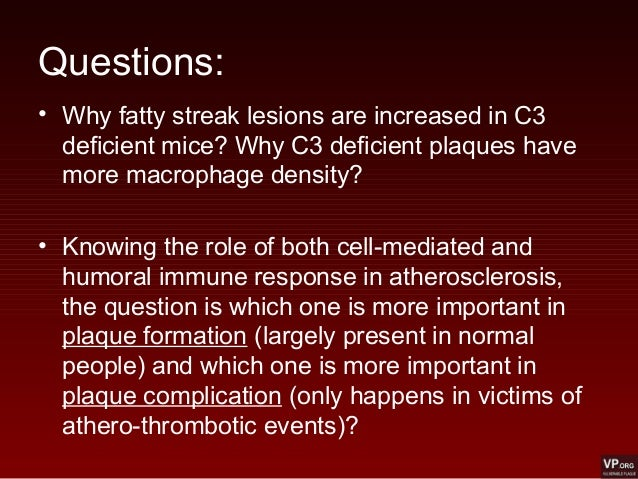 Questions: • Why fatty streak lesions are increased in C3 deficient mice? Why C3 deficient plaques have more macrophage de...