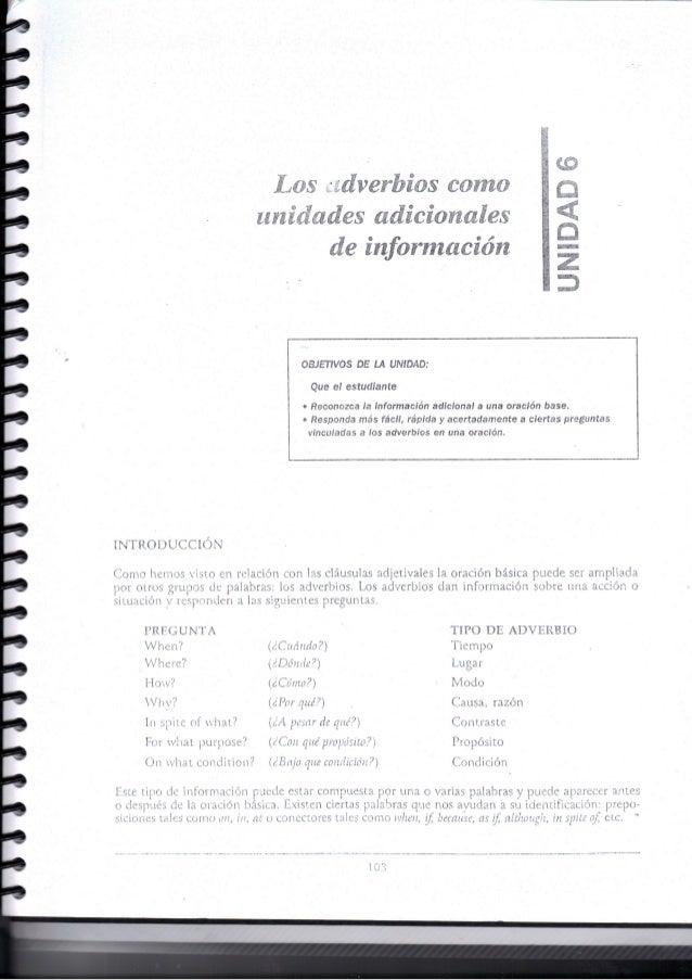 Unidad 6: Los Adverbios como unidades adicionales de información
