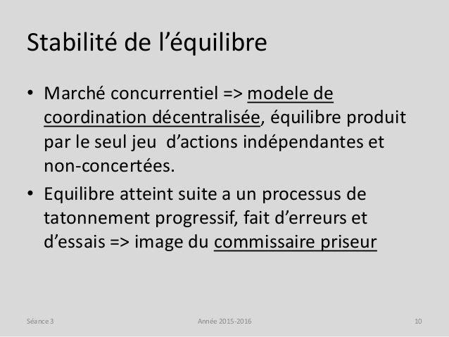 Stabilité de l'équilibre • Marché concurrentiel => modele de coordination décentralisée, équilibre produit par le seul jeu...