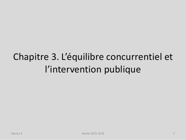 Chapitre 3. L'équilibre concurrentiel et l'intervention publique Année 2015-2016 2Séance 3