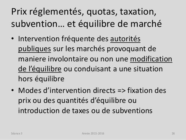 Prix réglementés, quotas, taxation, subvention… et équilibre de marché • Intervention fréquente des autorités publiques su...