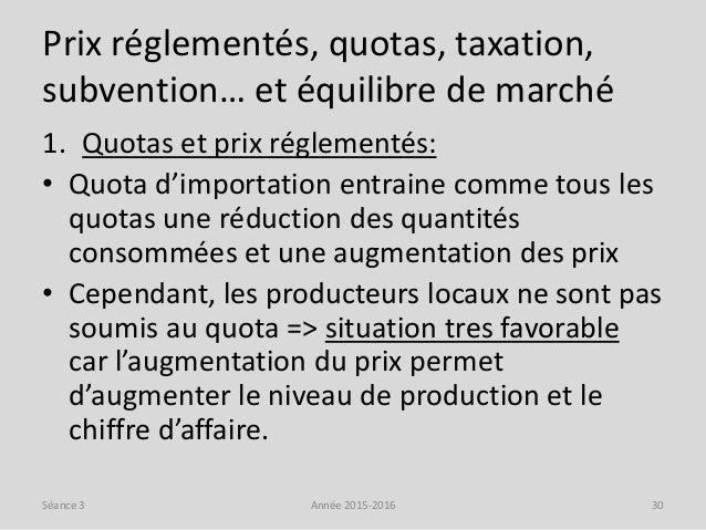 Prix réglementés, quotas, taxation, subvention… et équilibre de marché 1. Quotas et prix réglementés: • Quota d'importatio...