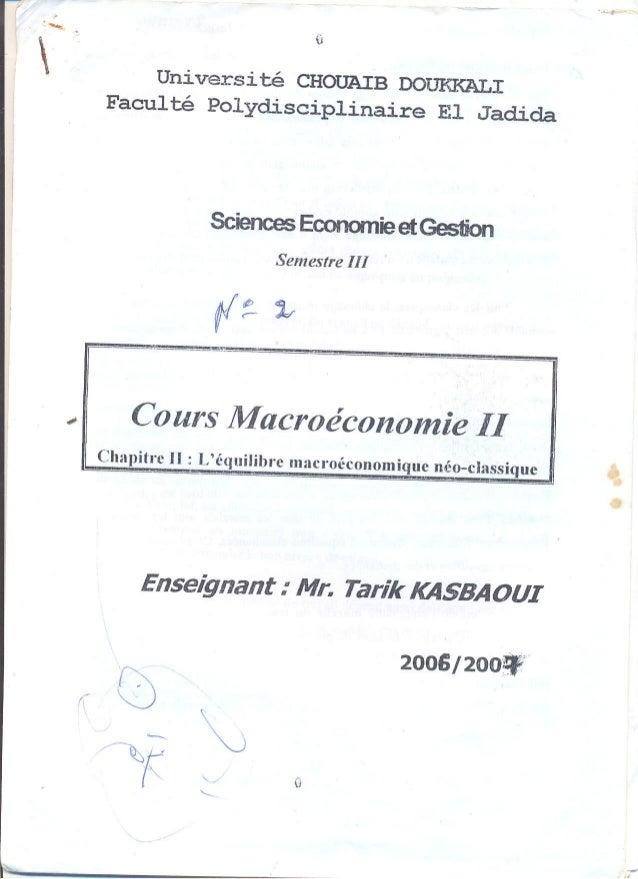 L'équilibre macro économique néo-classique