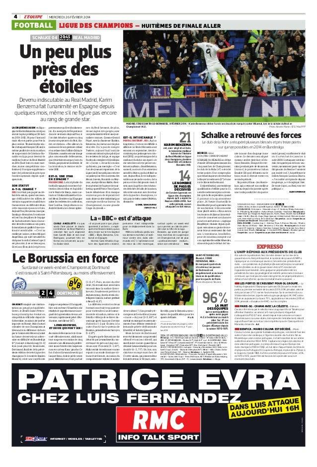 4  MERCREDI 26 FÉVRIER 2014  FOOTBALL LIGUE DES CHAMPIONS – HUITIÈMES DE FINALE ALLER 20:45 SCHALKE 04 BEIN SPORTS 2 REAL ...