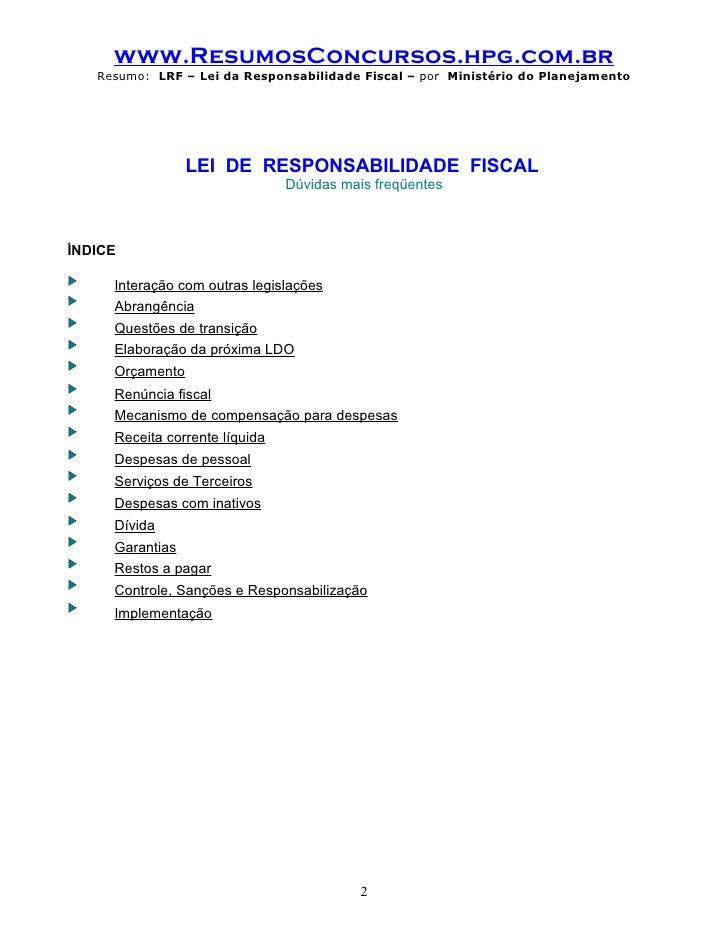 Lei de Responsabilidade Fiscal LC 101/200 - LRF Atualizada - 2019