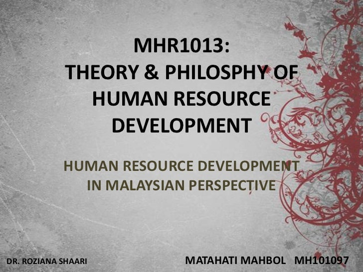 MHR1013:            THEORY & PHILOSPHY OF              HUMAN RESOURCE                DEVELOPMENT            HUMAN RESOURCE...