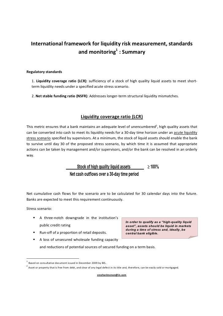 Basel Committee proposal for liquidity framework:Summary