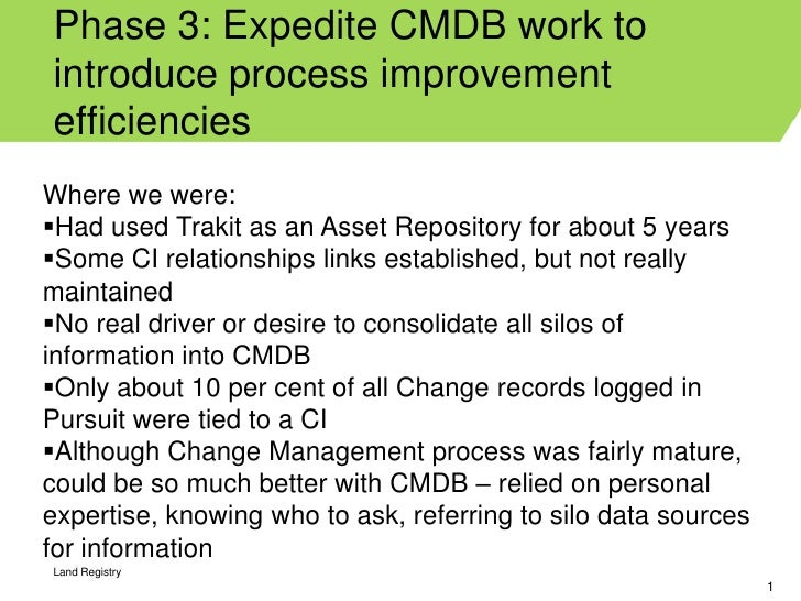 Phase 3: Expedite CMDB work tointroduce process improvementefficienciesWhere we were:Had used Trakit as an Asset Reposito...