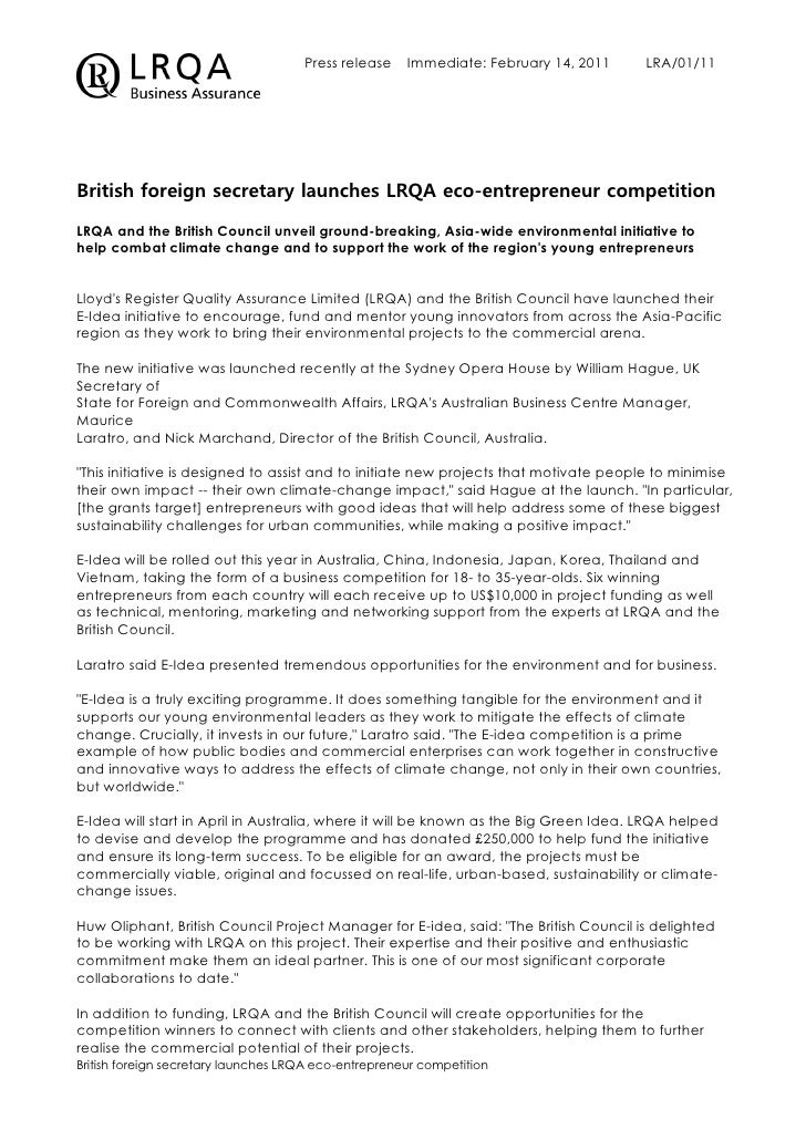 Press release    Immediate: February 14, 2011    LRA/01/11British foreign secretary launches LRQA eco-entrepreneur competi...