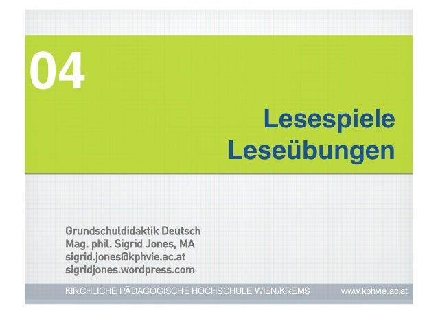 04!                                 Lesespiele!                               Leseübungen! Grundschuldidaktik Deutsch Mag....