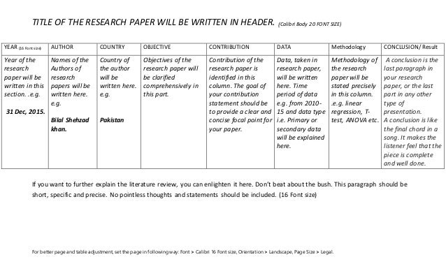 lit review template - literature review table how to write a research paper 39 s