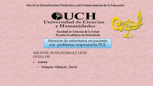 Atencion de enfermeria en paciente con problemas respiratorios PCE Año de la Diversificación Productiva y del Fortalecimie...