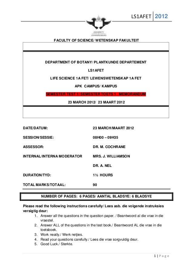 LS1AFET 20121 | P a g eFACULTY OF SCIENCE/ WETENSKAP FAKULTEITDEPARTMENT OF BOTANY/ PLANTKUNDE DEPARTEMENTLS1AFETLIFE SCIE...