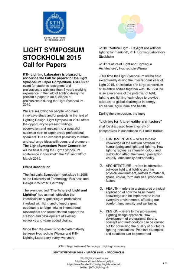 KTH - Royal Institute of Technology Lighting Laboratory LIGHT SYMPOSIUM 2015 - MARCH 19-20 ...  sc 1 st  SlideShare & Stockholm KTH Light Symposium 2015 call for papers