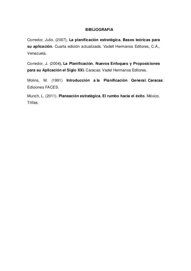 BIBLIOGRAFIA  Corredor, Julio. (2007), La planificación estratégica. Bases teóricas para  su aplicación. Cuarta edición ac...