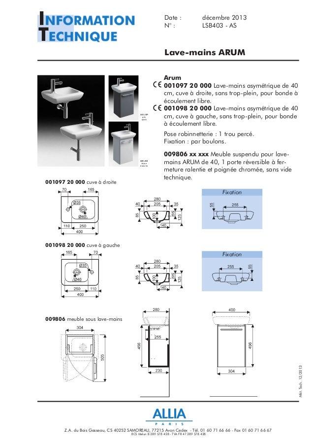 fiche technique lave mains arum par allia salle de bains. Black Bedroom Furniture Sets. Home Design Ideas