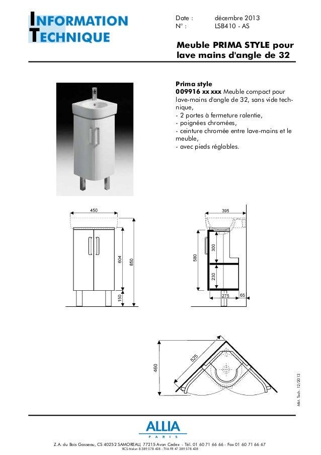 fiche technique lave mains d 39 angle de 32 cm prima style. Black Bedroom Furniture Sets. Home Design Ideas