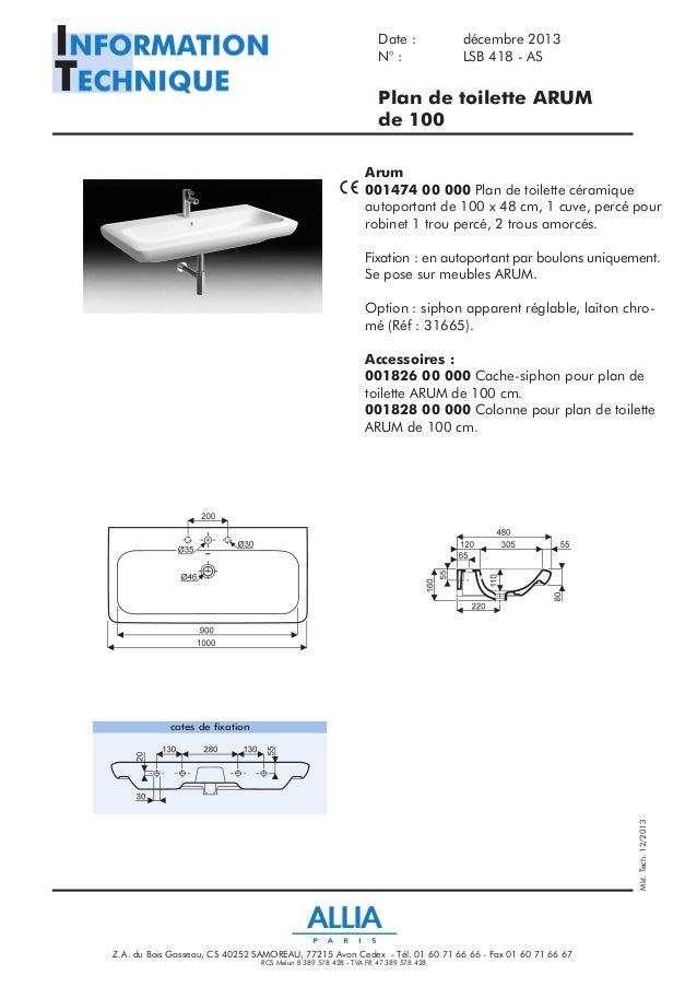 fiche technique plan de toilette de 100 cm arum par allia. Black Bedroom Furniture Sets. Home Design Ideas