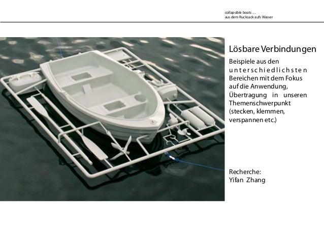Lösbare Verbindungen Recherche: Yifan Zhang collapsible boats … aus dem Rucksack aufs Wasser Beispiele aus den u n t e r s...