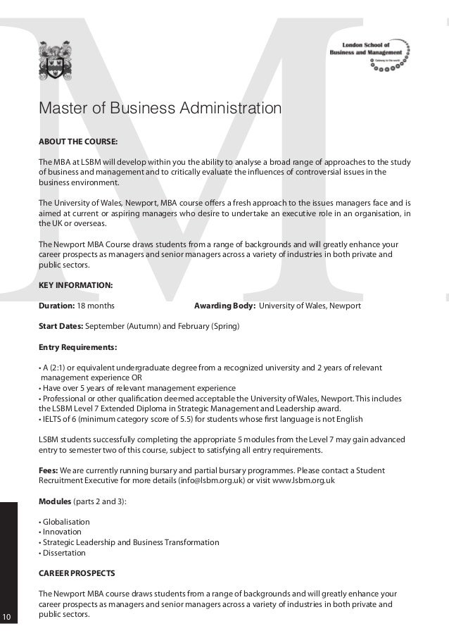 London School Of Business And Management Lsbm Courses