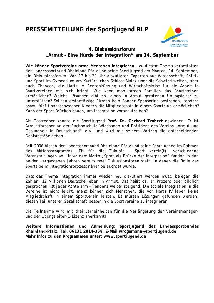 """PRESSEMITTEILUNG der Sportjugend RLP                           4. Diskussionsforum          """"Armut – Eine Hürde der Integr..."""