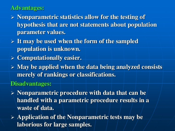 three fundamental differences between parametric and nonparametric statistics Parametric and non-parametric tests for comparing two or more groups statistics: parametric and non-parametric tests this section covers: choosing a test parametric tests non-parametric tests choosing a test.