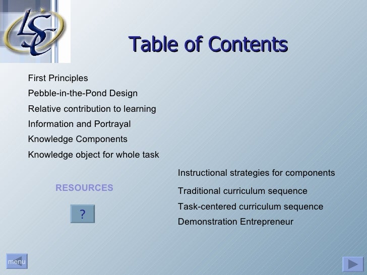 Table of Contents First Principles Relative contribution to learning Traditional curriculum sequence Task-centered curricu...