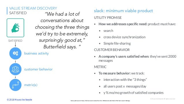 © Moves the Needle All rights reserved VALUE STREAM DISCOVERY SATISFIED slack: minimum viable product UTILITY PROMISE • Ho...