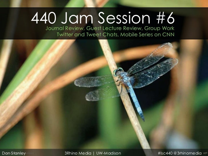 440 Jam Session #6               Journal Review, Guest Lecture Review, Group Work                   Twitter and Tweet Chat...