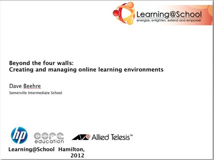 Beyond the four walls ...Creating and managing online learning           environments                                   Da...