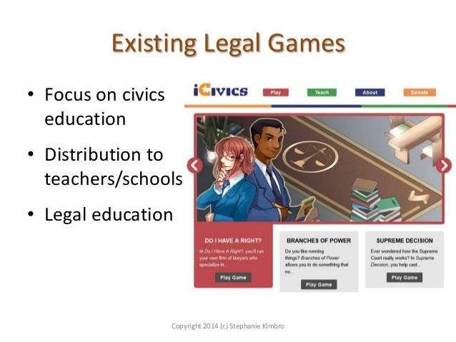 Existing Legal Games • Focus on civics education • Distribution to teachers/schools  • Legal education  Copyright 2014 (c)...