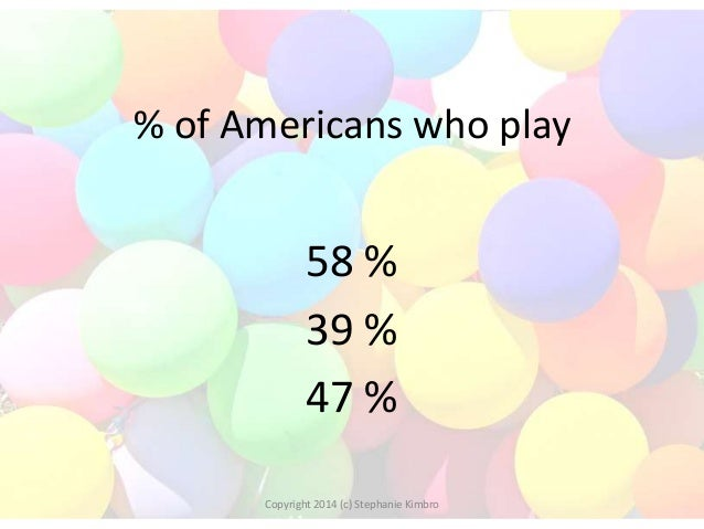 % of Americans who play  58 % 39 % 47 % Copyright 2014 (c) Stephanie Kimbro