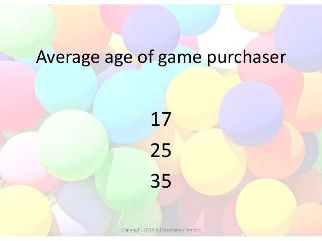Average age of game purchaser  17 25 35 Copyright 2014 (c) Stephanie Kimbro