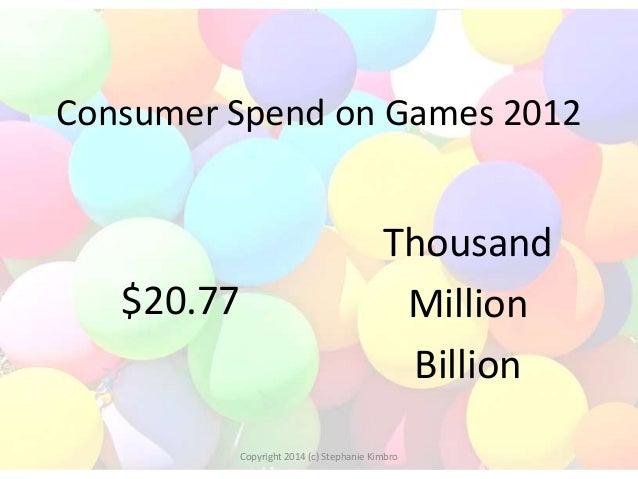 Consumer Spend on Games 2012  $20.77  Thousand Million Billion  Copyright 2014 (c) Stephanie Kimbro