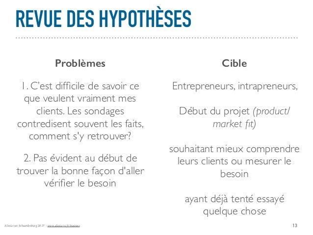 Alexia van Schaardenburg 2017 - www.alexia-vs.fr/business REVUE DES HYPOTHÈSES 13 Problèmes Cible 1. C'est difficile de sav...