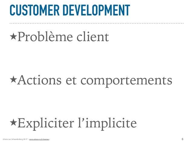 Alexia van Schaardenburg 2017 - www.alexia-vs.fr/business CUSTOMER DEVELOPMENT ★Problème client ★Actions et comportements ...