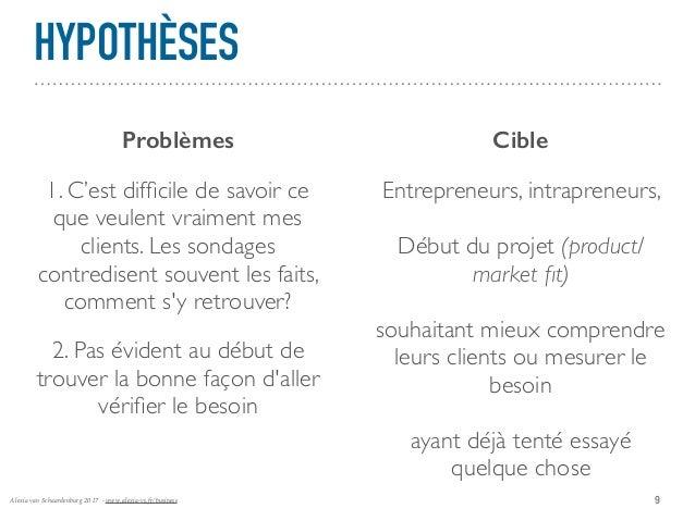 Alexia van Schaardenburg 2017 - www.alexia-vs.fr/business HYPOTHÈSES 9 Problèmes Cible 1. C'est difficile de savoir ce que ...