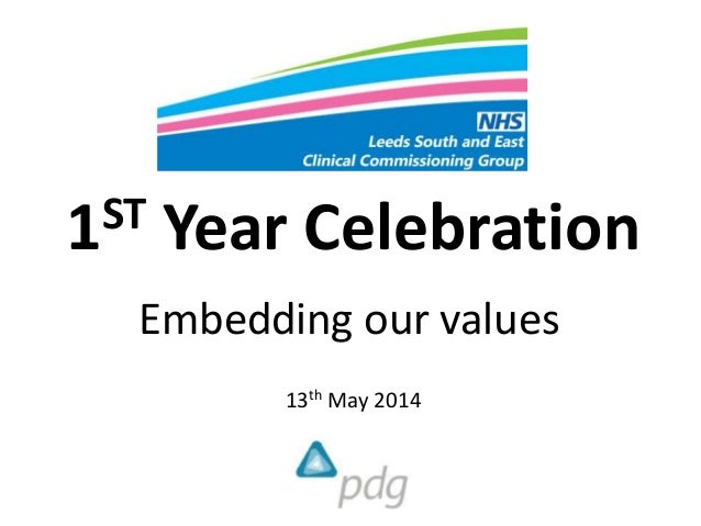 1ST Year Celebration Embedding our values 13th May 2014