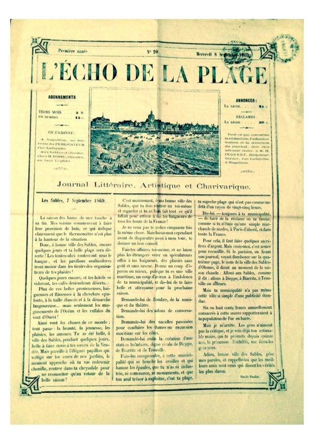 L'Echo de la Plage du 8 sept 1869 Les Sables d'Olonne