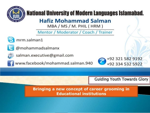 Guiding Youth Towards GloryBringing a new concept of career grooming inEducational institutions