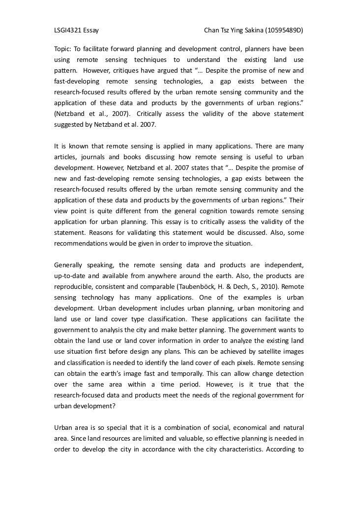 LSGI4321 Essay                                      Chan Tsz Ying Sakina (10595489D)Topic: To facilitate forward planning ...
