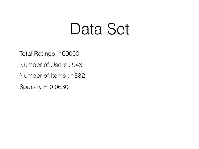 Data Set Total Ratings: 100000 Number of Users : 943 Number of Items : 1682 Sparsity = 0.0630