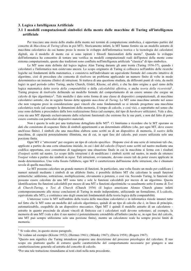 3. Logica e Intelligenza Artificiale 3.1 I modelli computazionali simbolici della mente dalle macchine di Turing all'intel...